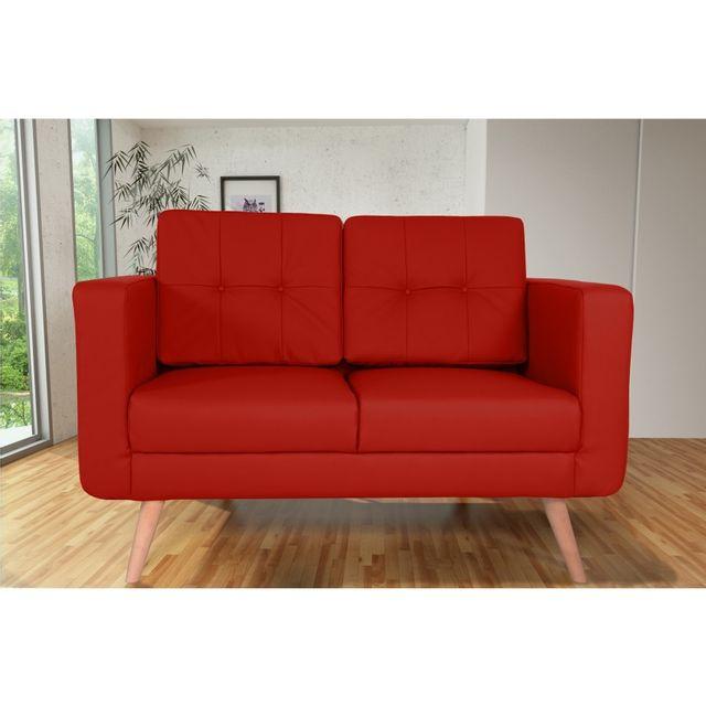 Rocambolesk Canapé fixe Hedvig 2 Pu Soft 10 Rouge sofa divan