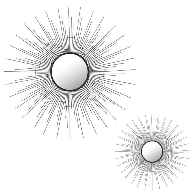 Tousmesmeubles Duo de Miroirs soleil ronds Métal noir - Ogaden