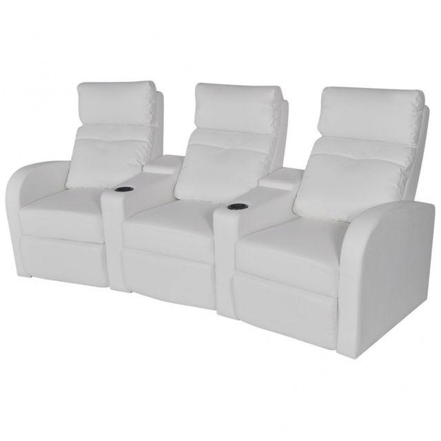 Casasmart Canapé 3 sièges intégrés en similicuir blanc