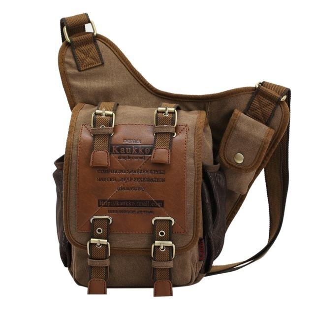 be1e248593 ... Wewoo - Fh03 rétro style Hommes toile kaki sac à bandoulière Messenger  Bag Outdoor randonnée camping ...