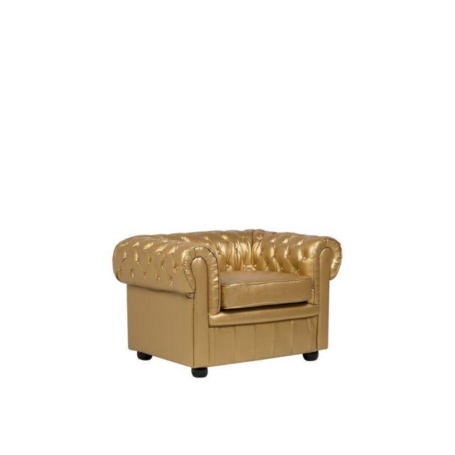 BELIANI Fauteuil en cuir doré CHESTERFIELD - or