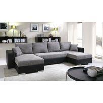 Meublesline - Canapé d'angle convertible 5 places Enno gris et noir