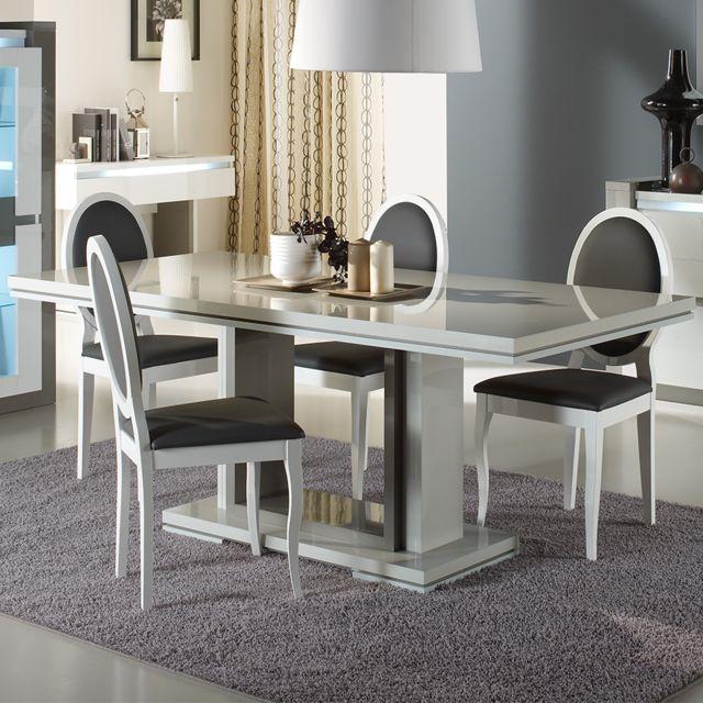 Nouvomeuble Table à manger 190 cm blanche design Rimio