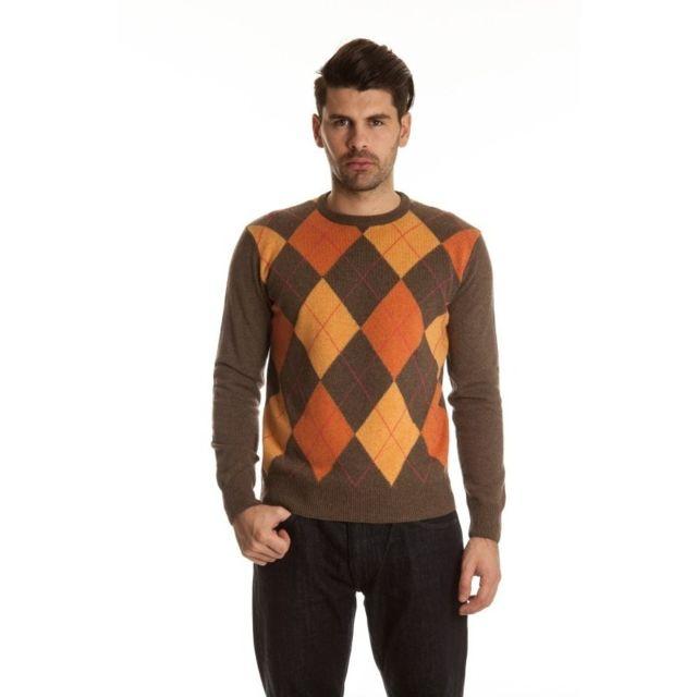 Krizia - Pull cachemire Homme , Brun et Orange - pas cher Achat   Vente  Sweat homme - RueDuCommerce 6074a8092659