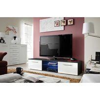 Asm-mdlt - Meuble Tv Bono Iii en blanc et noir de haute brillance 180x37x45 cm avec Led