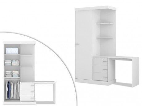 vente unique armoire bureau int gr fika l181cm blanc 181cm x 219cm x 52cm pas cher. Black Bedroom Furniture Sets. Home Design Ideas
