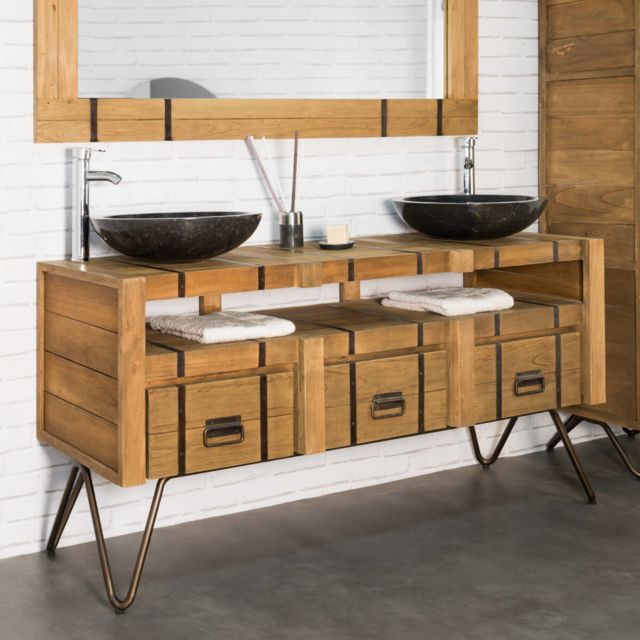 Wanda Collection Meuble double vasque en mindi et acier 160 Loft naturel