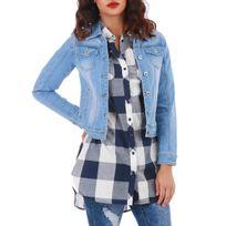 Lamodeuse - Veste en jeans bleu courte