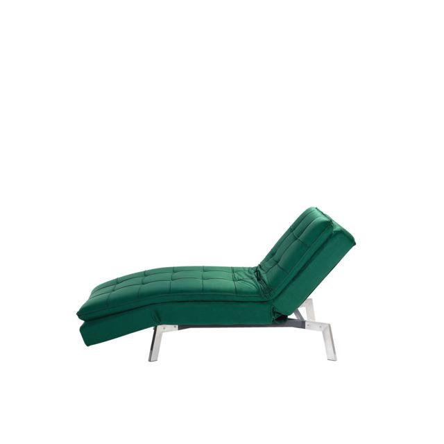 BELIANI Chaise longue réglable vert émeraude LOIRET - rose