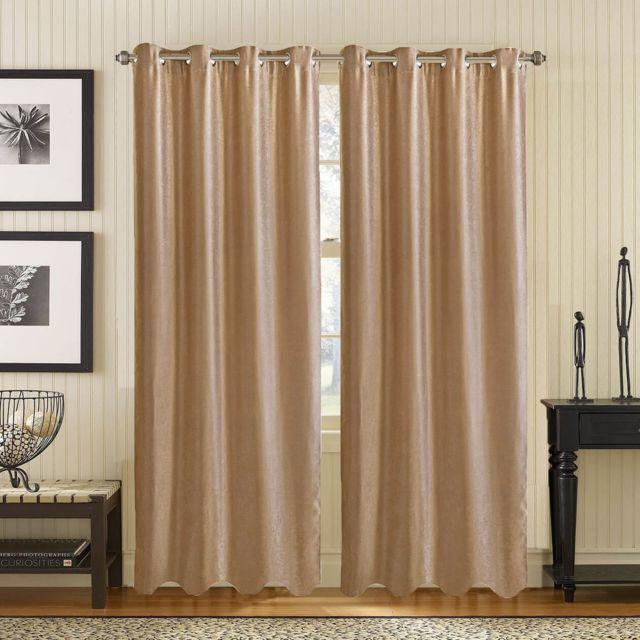 Best Interior - Paire de rideaux occultant effet marbré - taupe ...