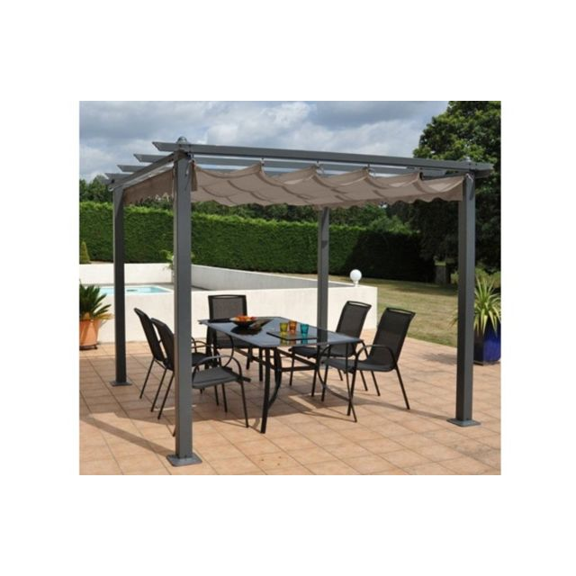 house and garden pergola aluminium toit r tractable 3x4m op ra taupe pas cher achat vente. Black Bedroom Furniture Sets. Home Design Ideas