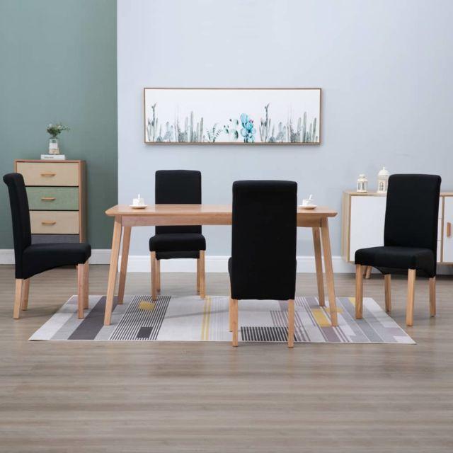 Splendide Fauteuils et chaises edition Islamabad Chaises de salle à manger 4 pcs Noir Tissu