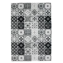 Mon Beau Tapis - Tapis motifs carreaux de ciment noir 60x90cm Toodoo