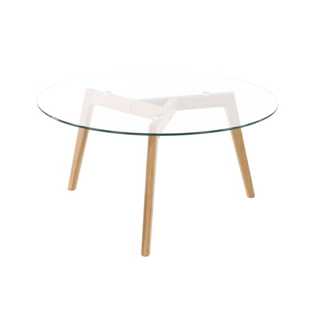 Table basse ronde plateau verre diamètre 90 cm - SCANDINO