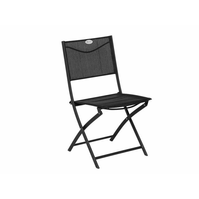 Hespéride - Chaise de jardin pliante métal Modula Noir/Noir ...