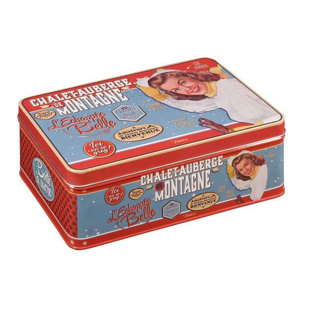 Natives Boîte à sucre en métal bleu et rouge 20x13x7cm L' Echappee Belle
