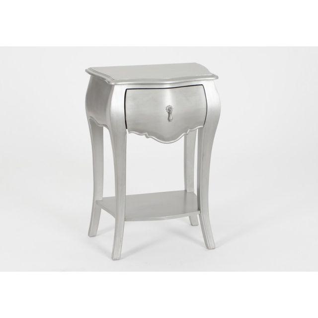 amadeus chevet 1t murano argente gris pas cher achat vente chevet rueducommerce. Black Bedroom Furniture Sets. Home Design Ideas