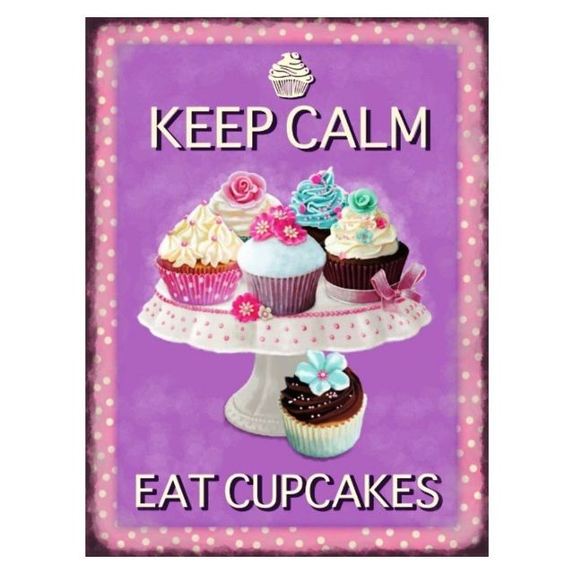 Universel Plaque gateau keep calm eat cupcake tole humour cuisine