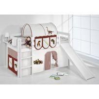 Lilokids - Lit surélevé ludique Jelle 90x200 cm Dinos marron blanc laqué - avec toboggan et rideaux