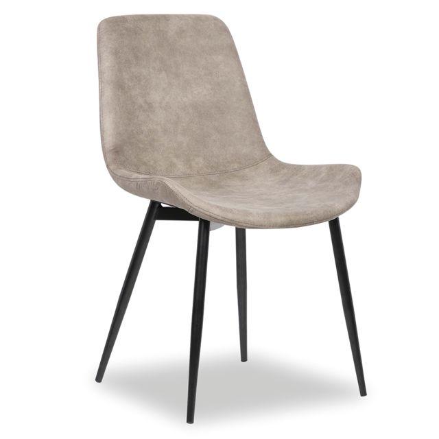 Nouvomeuble Chaise design grise Elena lot de 2