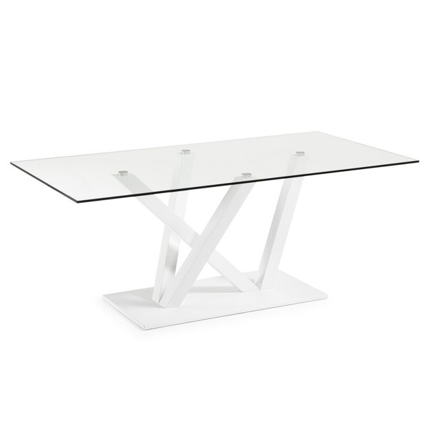 Kavehome Table Nyc 200x100, epoxy blanc et verre transparent