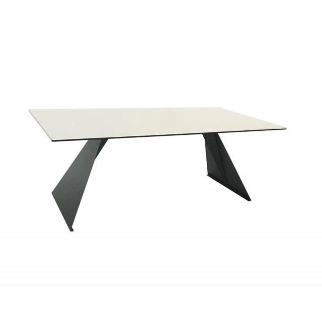 Meubletmoi Table basse plateau céramique blanc - Opale