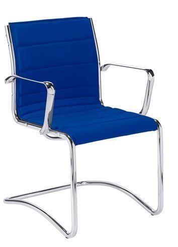 Fauteuil visiteur Sky Rete tissu bleu - Dossier H 40 cm