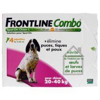 Frontline - Combo - Pipettes Antiparasitaire pour Chien de 20 à 40Kg - 4x2,68ml