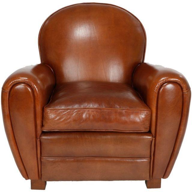 tousmesmeubles fauteuil club cuir noisette dorset. Black Bedroom Furniture Sets. Home Design Ideas