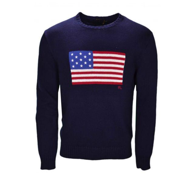 Ralph Lauren - Pull col rond drapeau américain bleu marine pour homme S - pas  cher Achat   Vente Pull homme - RueDuCommerce 0fda68bb5d7f