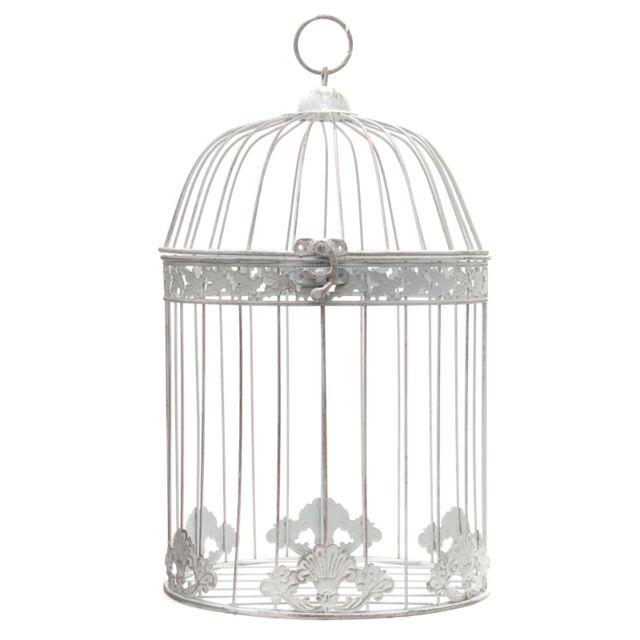 L'ORIGINALE Deco Grande Cage Oiseaux Ronde Décoration Blanc 50 cm x ø30 cm