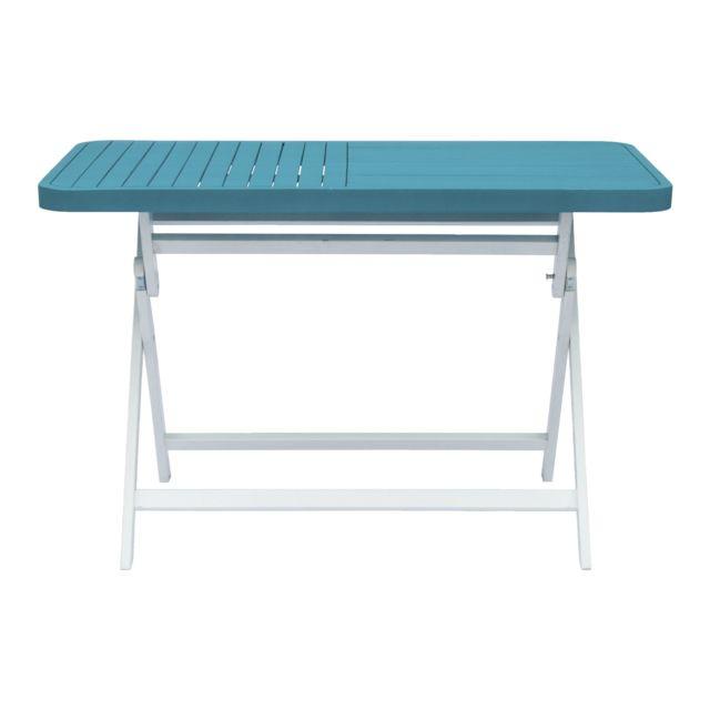 Alinéa - Youk Table de jardin rectangulaire pliable bleue - pas cher ...