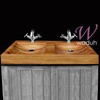 Waduh - Vasque de salle de bains à poser double en teck 80 cm - Alodia