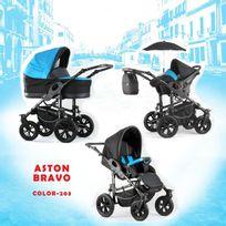 Autre - Poussette trio Aston Bravo noir bleu châssis silver roue carrera silver