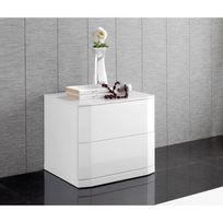 table de chevet blanc laque