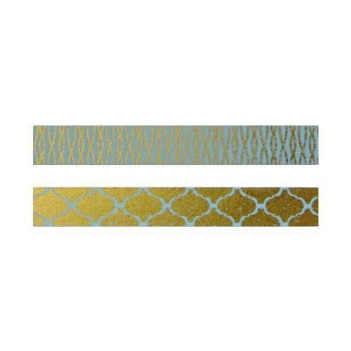 Autre 2 masking tapes bleus & or à motifs
