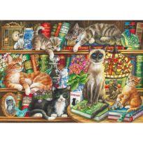 Gibsons - Puzzle 1000 pièces : Chats dans la bibliothèque