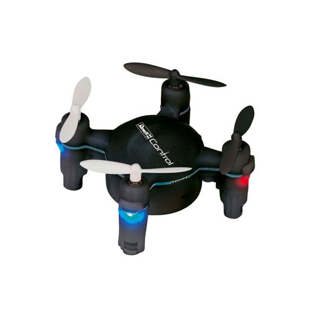 """REVELL Quadrocoptère""""Nano Quad FUN""""noir Mini Quadrocoptère, 4 voies 2,4 GHz de 6,5 cm. Intérieur - extérieur (temps calme). 3 sensibilités. LED d'orientation. Loopings. Mode Altitude (Capteur barométrique). Acc"""