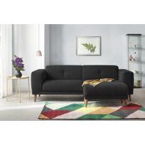 BOBOCHIC - Canapé LUNA avec Pouf - Style Scandinave - Noir - 93cm x 77cm x 225cm