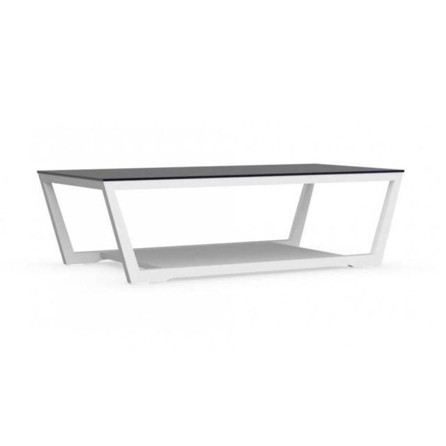 Inside 75 Table basse Element blanche avec plateau en verre noir