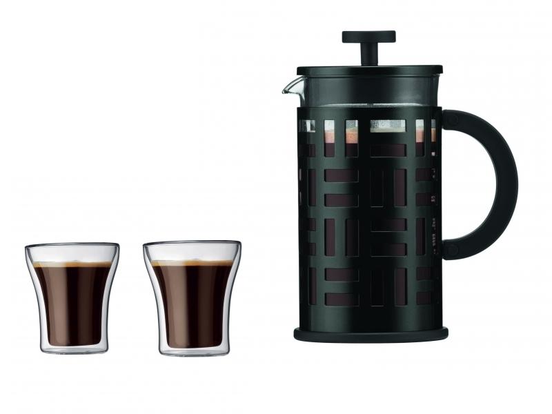 EILEEN Cafetière à piston, 8 tasses, 1.0 l + ASSAM Set 2 verres, double paroi, 0.2 l
