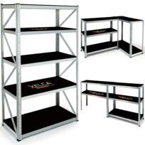 Idmarket - Etagère pro capacité 875 kg noire et galva 5 plateaux