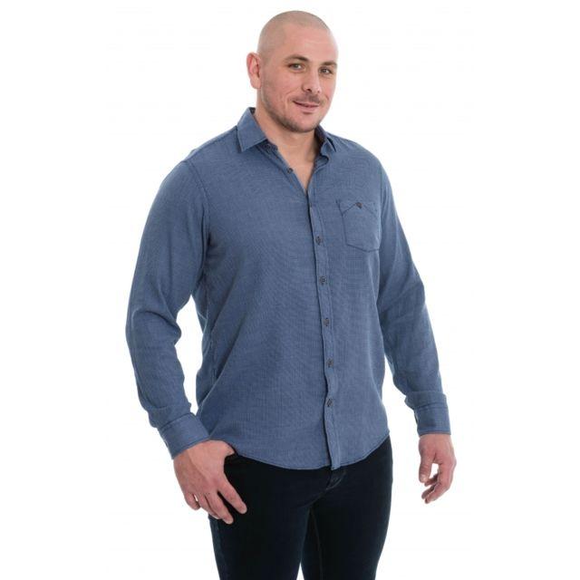 &TRADITION Chemise bleu à petits motifs carré blanc