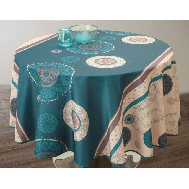 le linge de jules nappe anti taches tzigane turquoise. Black Bedroom Furniture Sets. Home Design Ideas