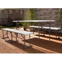Lifetime - Table pliante + 2 bancs résine pliants