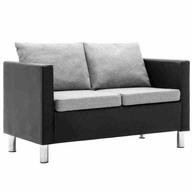 Vidaxl Canapé à 2 places Simili-cuir Noir et gris clair - Meubles - Canapés | Noir | Noir