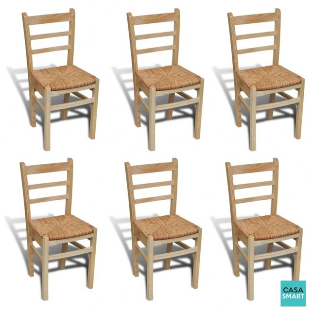 Casasmart Lot de 6 chaises Winona en bois naturel