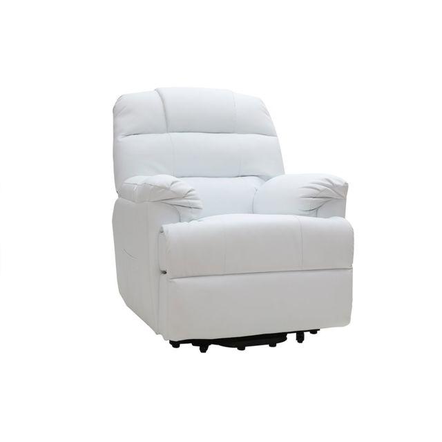 super populaire cf60c 187c5 Fauteuil relax électrique releveur blanc Phoebe