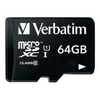 Verbatim - Premium - Carte mémoire flash adaptateur Sd inclus e - 64 Go - Class 10 - microSDXC Uhs-i