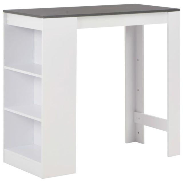 Superbe Tables gamme Accra Table de bar avec étagère Blanc 110x50x103 cm